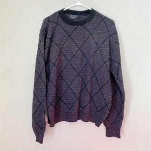 JANTZEN Fair Isle Grandpa Diamond Stripe Sweater